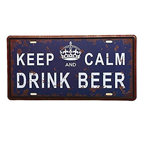 Ndier Vintage metálicos de hojalata Señal placa de la pared del cartel de hierro lata del metal Cartel para Café Bar Pub Beer Club decoración del hogar para mantener la cerveza BEBIDA CALM