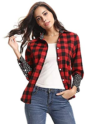 Abollria Women's Roll up Long Sleeve Boyfriend Button Down Plaid Flannel Shirt (S-XXL