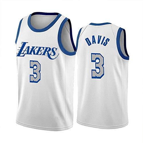 FEZBD Camiseta De Baloncesto De Los Hombres Lakers 3# Davis, Ropa De Aptitud Deportiva De Malla Bordada De Los Hombres, Malla Sin Mangas Cómodas Tapas Transpirables,Blanco,XL180~185cm