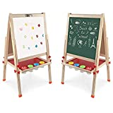 Arkmiido Kids Easel Double-Sided Whiteboard & Chalkboard Standing Easel with Bonus Magnetics, Numbers and Other Accessories for Kids and Toddlers (48.8 inch)