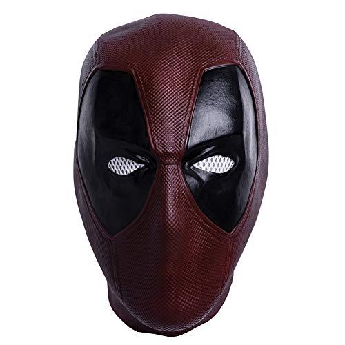 Superhero DP Mask Dark Red Latex Mask Halloween Cosplay Costume Mask for Unisex Adult