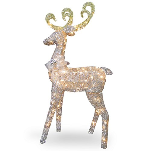 National Tree 60 Inch Crystal Standing Deer with 100 Clear Mini Lights (DF-100064U)
