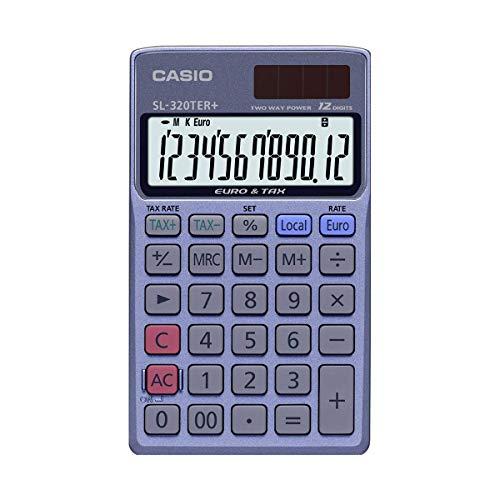 CASIO Taschenrechner SL-320TER+, 12-stellig, Steuerberechnung, Währungsumrechnung, Solar-/Batteriebetrieb