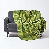 Homescapes Tagesdecke Morocco, grün, Sofa-Überwurf aus 100prozent Baumwolle, weiche Wohndecke 150 x 200 cm, grün gestreift, mit Fransen
