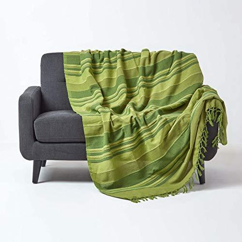 Homescapes große Tagesdecke Morocco, grün, Sofa-Überwurf aus 100% Baumwolle, weiche Wohndecke 225 x 255 cm, grün gestreift, mit Fransen