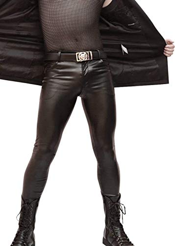 Herren Hosen Lange Herbst Winter Freizeit Fashion Lederhose Jungen Skinny Normallacks ANK Rock Kunstlederhose Pants (Color : Schwarz, Size : XL)