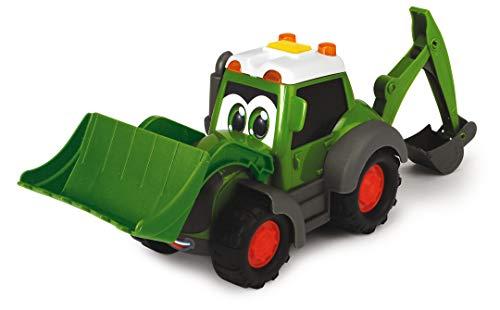 Dickie Toys Happy Fendt Loader, Schaufelbagger mit Lader und Schaufelarm, inkl. 2 Pylonen, Spielautos für Kinder ab 1 Jahr, Baustellenfahrzeug, Bagger, Spielzeugautos, Licht & Sound, 21 cm