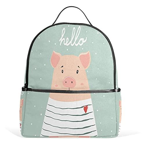 Hello Pig Piggy en bolsa de viaje escolar de poliéster a rayas