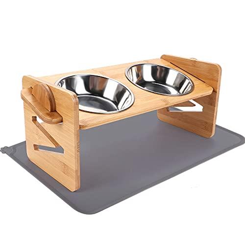 Ciotole Rialzate per Gatti e Cani Altezza Regolabile Porta Ciotole Rialzato in Bambù con 2 Ciotole in Acciaio Inossidabile e Tappetini Sottociotola Scodelle Rialzate per Piccola Gatti Cani
