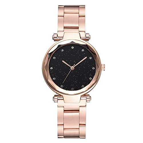 Uhren 2 PCS Stern Stahlband Alloy Quartz Trend Watch (schwarz) Asun (Color : Rose)