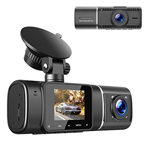 """Dual Dash Cam FHD 1080P Front Inside Cabin Car Camera Driving Recorder for Car Taxi w/IR Night Vision Interior Camera Parking Mode Motion Detection Accident Locked 1.5"""" LCD Display"""