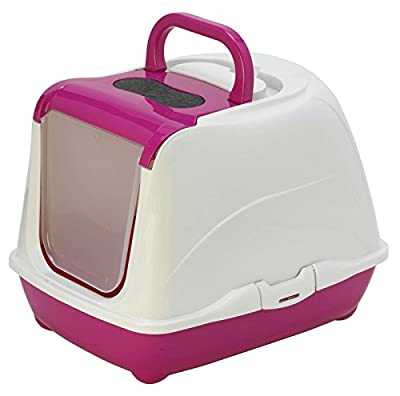 Pink Cat Flip Litter Tray 4 Colours Box Hooded Pan Toilet Loo Carbon Filter Scoop by Bolting Darts