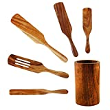 DMO Wooden Spurtles Set of 5 with Holder, Made from Natural Teak Wood, Cooking Utensils, Heat Resistant, Spatula Spurtle Set