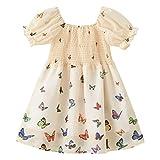 LOKKSI - Vestido para niña y niña, diseño de hada de verano con estampado de mariposas, manga abombada, vestido de princesa para niños y niñas, de 1 a 6 años