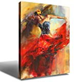 Flamenco Dancer Wall Art Decor Painting Figure Art Spanish Dancing Girl Canvas Prints Poster Decorative Painting Red Dress Sexy Lady Modern Artwork Picture for Living Room Home Decoration 24x36 Inch