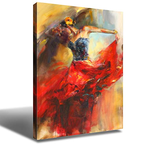Spanish Flamenco Dancer Wall Painting Decor Figure Art Dancing Girl Canvas Prints Poster Decorative Painting Red Dress Girls Modern Artwork Picture for Living Room Home Decoration 12x16 Inch