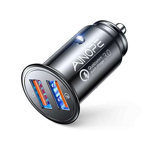 AINOPE Caricatore automatico, [doppia porta QC3.0] 36W/6A [tutto metallo] Caricabatteria da auto Mini Caricabatteria auto Quick Charge Compatibile con iPhone 12/11/XS/XR, Note 9/Galaxy S10/S9/S8, iPad