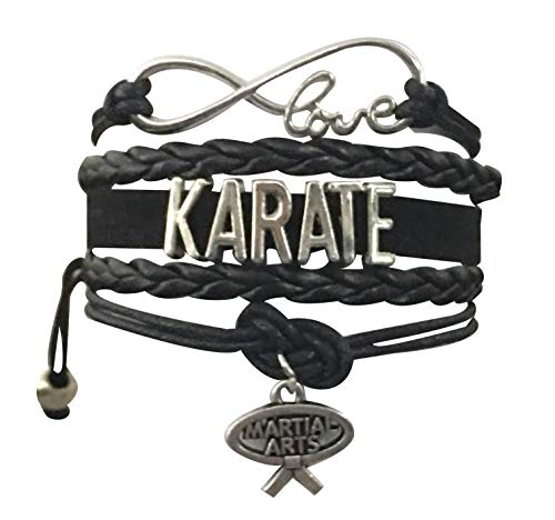 Sportybella Karate Charm Bracelet - Infinity Karate Adjustable Charm Bracelet with Martial Arts Charm for Women and Girls (Black)