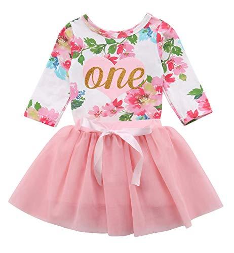 douleway Baby Mädchen 1. Geburtstag Tutu Kleid Ärmellos Floral Romper Top Spitzenrock Kleidung Ostern Outfit 2 Stücke
