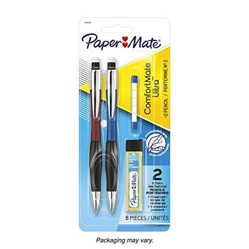 Paper Mate 1738796 Comfort Mate Ultra Mechanical Pencil Set, 0.7mm, HB #2, Assorted Colors, 2 Count