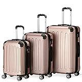 Flexot 2045 3er Reisekoffer Set - Farbe Rosegold Größe M L XL Hartschalen-Koffer Trolley Rollkoffer Reisekoffer 4 Rollen