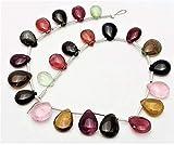 GEMS-WORLD BEADS GEMSTONE Very nice quality Natural Multi TOURMALINE smooth pear shaped beads,6x8 mm - 8x11 mm,8.5'strand[E0728] Tourmaline smooth pear beads