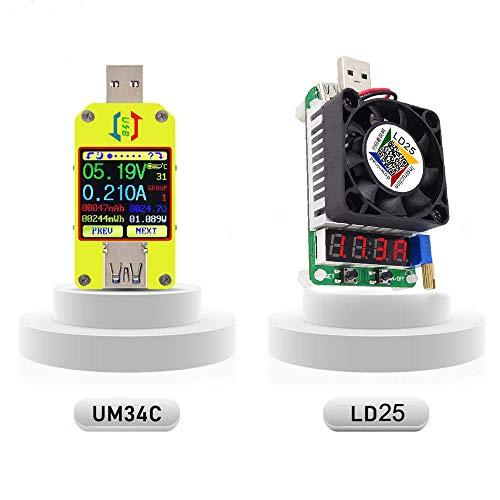 UM34C USB 3.0 Multimeter USB Bluetooth Voltmeter Ammeter and USB Electronic Load Tester Resistor USB Voltage Current Battery Power Capacity Charger Temperature Load Meter Tester (UM34C+LD25)
