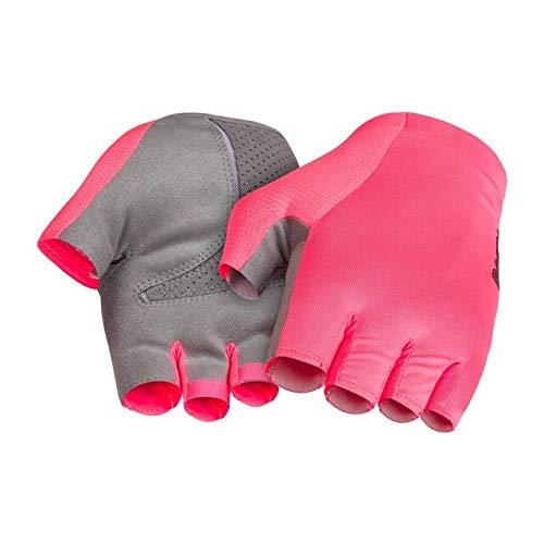 guanti da Ciclismo guanti da Corsa su Strada Rosa ad Alta visibilità e mezze Dita Nere-Rosa, XL