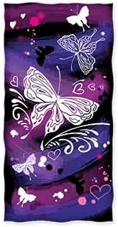 Purple Butterfly Graffiti Design Towel