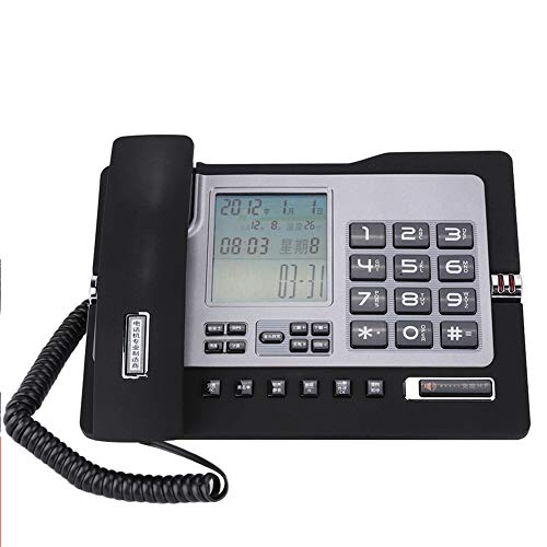 Denash Teléfono Fijo Fijo, teléfono de Escritorio para Oficina Teléfono con Cable para Hotel de Oficina en casa(Negro)