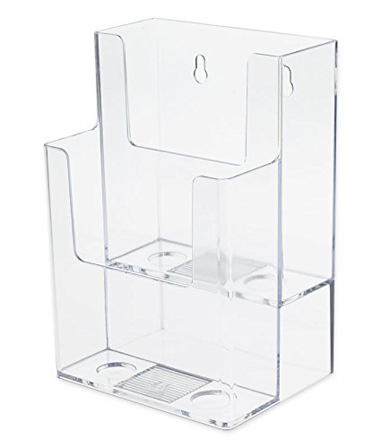 Source One LLC 4-Inch Wide 2 Tier Trifold Brochure Holder, Clea (1 Pack)