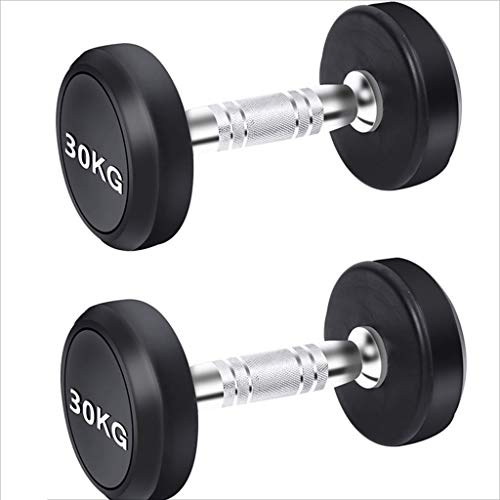 Dumbbells Fixed Value Men's Fitness Household Dumbbells Gym Fitness Equipment Dedicated Commercial Rubberized Dumb Ling Suit (Color : Black, Size : 60kg)