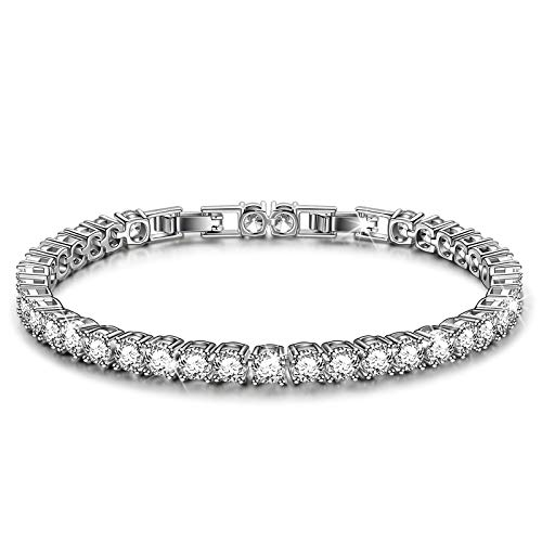 Kami Idea Eternity Tennis Bracelet Platinum Plated 5A Cubic Zirconia Gifts for Women Gift Boxed