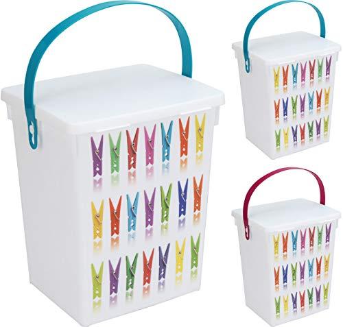 allaroundprofi24 Wäscheklammerbox Klammerbox Waschpulverbox Waschmittelbox Vorratsdose + 1 gratis Microfasertuch -VANI- 30 x 30 cm Kunststoff 5 l Waschmitteldose Waschmittelbehälter
