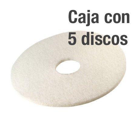 Discos blanco abrillantado profesional. Caja 5 uds