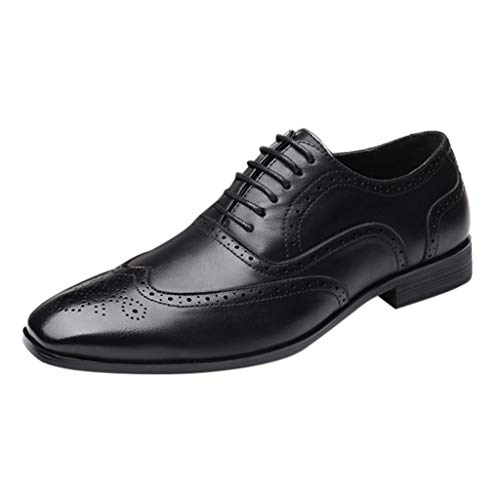 RQWEIN Men Fashion Dress Business Shoe Pointed Toe Floral Patent Leather Lace Up Oxford Black Brown