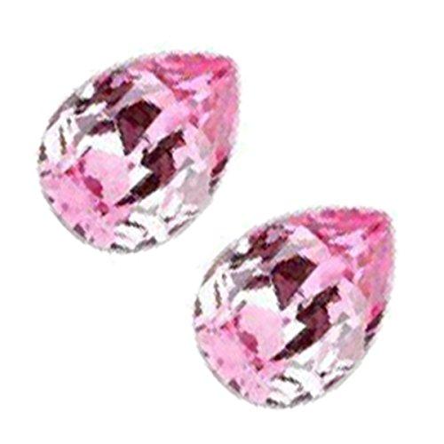 GWG Jewellery Pendientes Mujer Regalo Pendientes, Chapados en Plata de Ley Cristal Brillante Gota de Agua de Color Zafiro Rosa para Mujeres