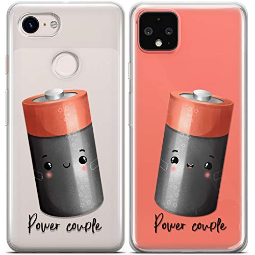 Toik Matching Cases Compatible with iPhone 12 Mini 11 Pro XS Max 10 XR SE X 8 7 Plus 6s Batteries BFF Best Friend Slim Cartoon Cover Cute Power Couple Couples Funny Clear Girlfriend Protective CCOP262