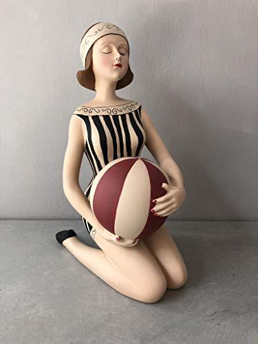 Wohnideen Kupke Deko Badefigur 22x15cm schlank auf den Knien sitzend in schwarz beigem Badeanzug Retro Stil der 50er 60er Jahre