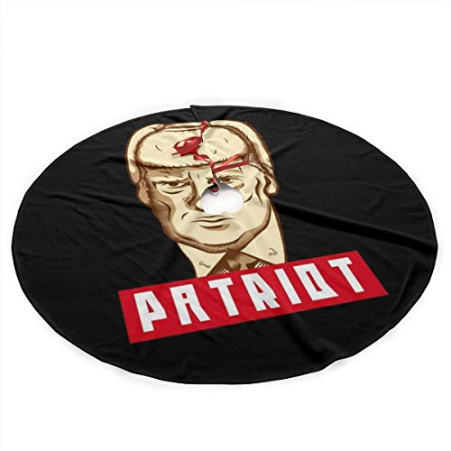 WILHJGH Patriot Russian Plush Fabric Christmas Tree Skirt 36 Inch