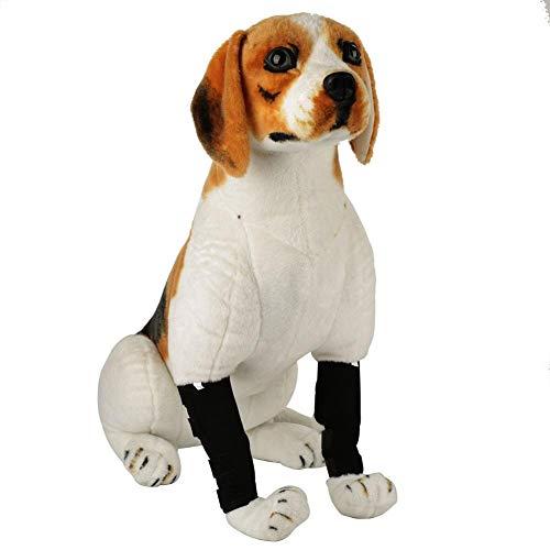 HEEPDD 2 STÜCKE Hund Bein Manschette, Hunde Vorderbein Hinterbeine Chirurgische Verletzung Wundschutz Sprunggelenk Wraps Kniescheibe für Verletzungen Verstauchungen Arthritis Schutz(Schwarz L)