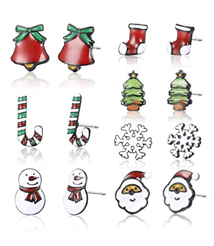 Sllaiss 7 Pairs A Week Christmas Earrings For Women Men Stainless Steel Assorted Earrings Snowflake Snowman Sock Christmas Tree Earrings Candy Cane Jingle Bell Santa Claus Xmas Jewelry