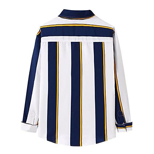 D-Rings Camisa de manga larga para hombre, de algodón, corte regular, de Oxford, azul, S