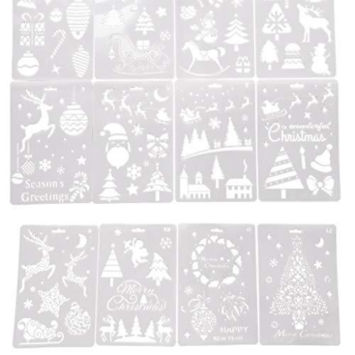 XUNXI Zeichnungen Vorlagen, Weihnachtsschablonen Vorlagen Weihnachtsbriefe Weihnachtsbäume Santa Reindeer Malschablonen Wiederverwendbare Kunststoff Bastelvorlagen für DIY Weihnachtsdekoration