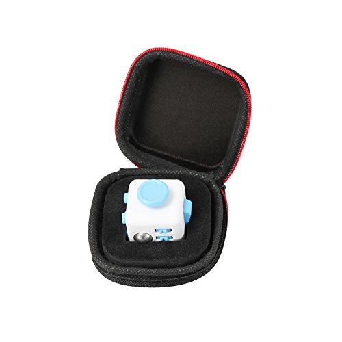 Fidget Cube mit Hülle Schreibtisch-Spielzeug Klicker Joystick-Tasten zum Stressabbau, bei Angst, zum Konzentrieren ADHD Autismus Erwachsene Kinder Studenten Büro Geschenk, 8?Blue White