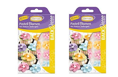 2er Pack | BackDecor VKE | Pastell Blumen | Zuckerguss | Pastell Farben | Blumen | Zucker | Dekoration | 2 x 15 Stk.