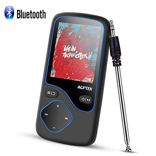 """Lettore MP3 Bluetooth 4.0, AGPTEK 8GB Lostless MP3 Player con Display a Colori 1.8"""", Radio FM in Modalità Bluetooth, Registrazione Vocale, Supporta Scheda SD fino a 128G - Nero (C5B)"""