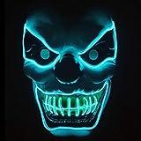 Ikakabek Halloween LED Maske Clown Gruselmaske mit 3 Blitzmodi, Horror Killer Blinkende Maske Leuchten Gruselige Dekoration für Halloween Fasching Karneval Cosplay Party Kostüm Cosplay (Blau)