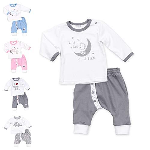 Baby Sweets Baby Set Hose + Shirt Unisex weiß grau Motiv: A Star is Born Babyset mit Bärenmotiv für Neugeborene, 56, A Star Is Born (Grau)