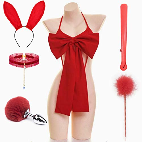 Sexy Red Big Bowknot Dessous Set Outfit mit Bunny Tail Plùg Ohren Hairhoop Lace Choker und Hand Pat Anime Cosplay Kostüm - M.